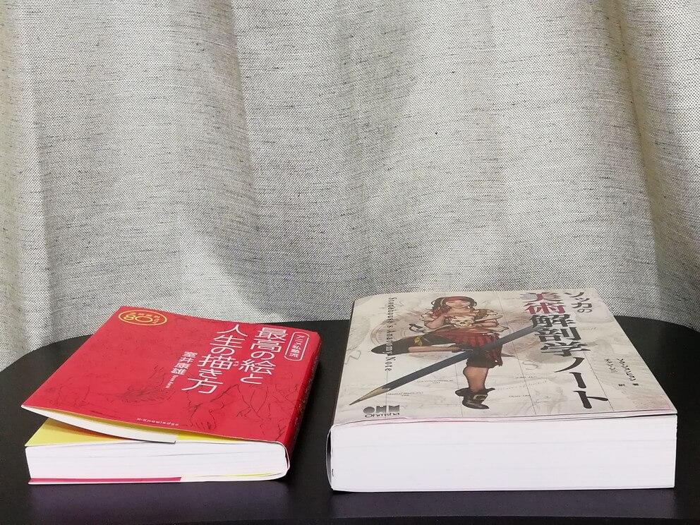 通常の本と厚めの本を挟んでみる