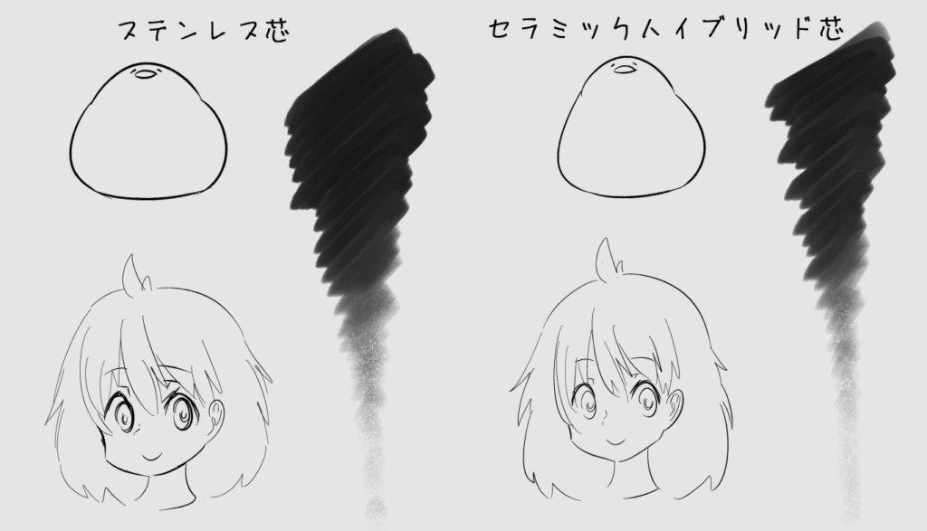 2つの芯で描いてみた絵を比較